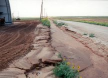 ditch filled with deposited sediments after soil was eroded from the field
